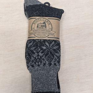 ROOTS Cozy Elsa Cabin Socks - 2 Pack - Grey Black